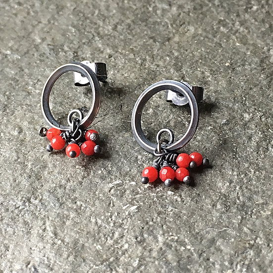 Gather River Breath Oxidised silver and red bamboo coral earrings Eleanor Watson (c) 2020 Collection