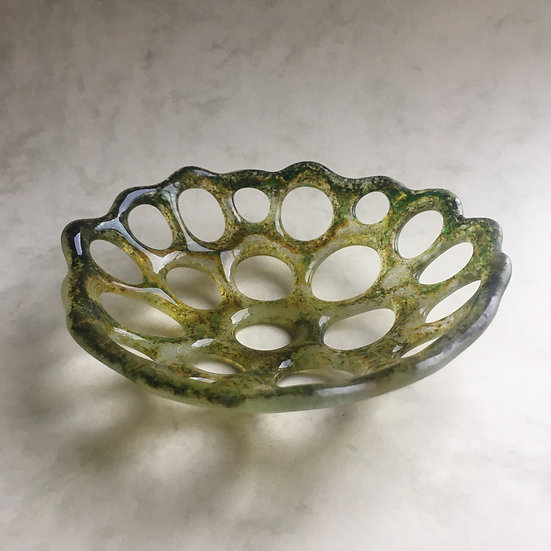 Holed lace glass bowl -pale green, olive green, rust