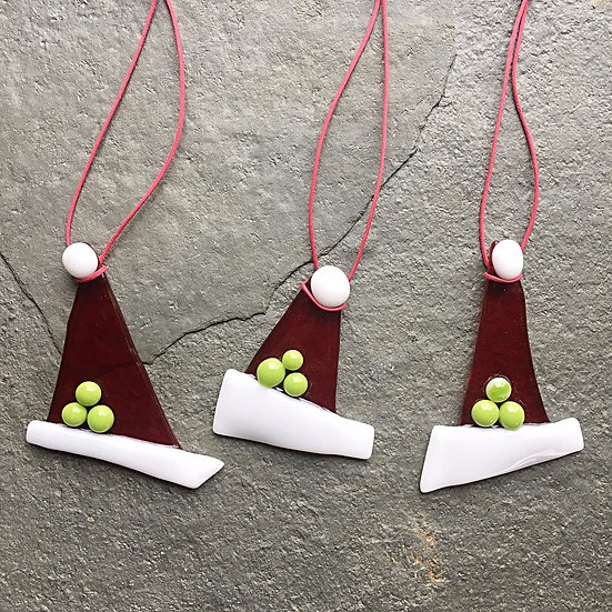 3 Fused Glass Santa Elf hats -Christmas Decoration