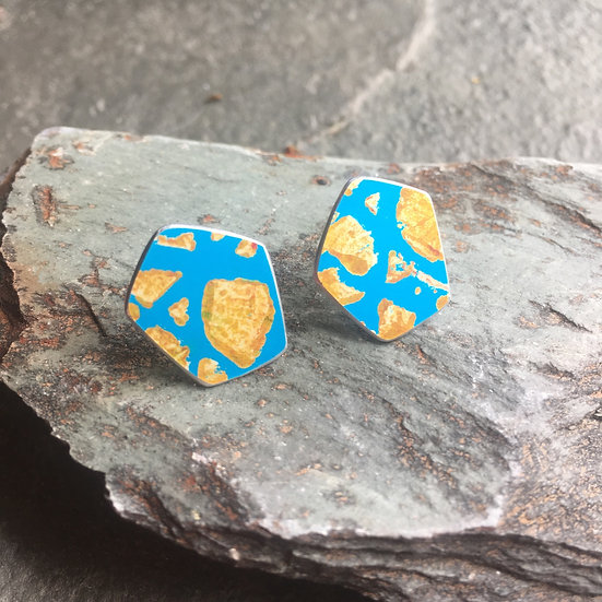 Anodised Aluminium stud earrings on sterling silver backs - turquoise and gold