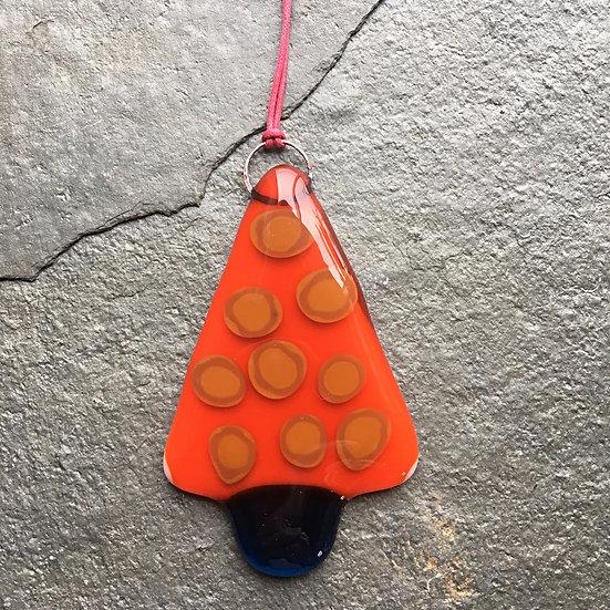 Fused Glass Christmas Tree- single orange toffee