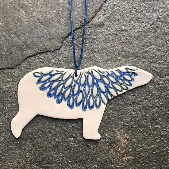 Porcelain Menagerie: Polar Bear Blue / White
