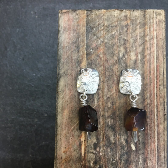 Angel Ivy Opals - Silver & Fire Opal earrings Abney Park Collection 2020