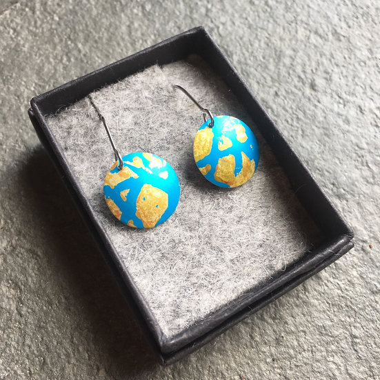 Anodised Aluminium earrings - turquoise and gold - small