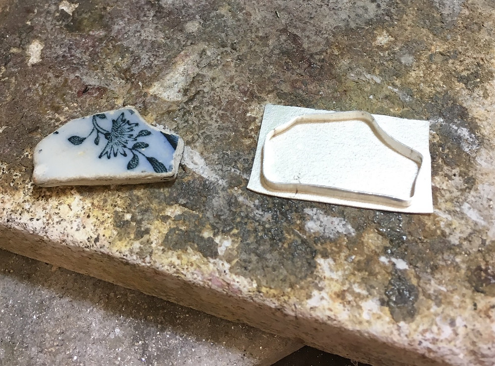 Fragment of blue and white pottery and silver setting | Eleanor Designs (c) 2017