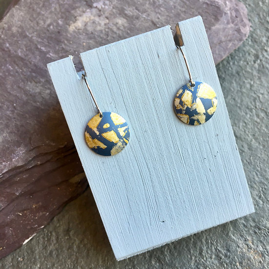 Anodised Aluminium earrings Slate blue and gold