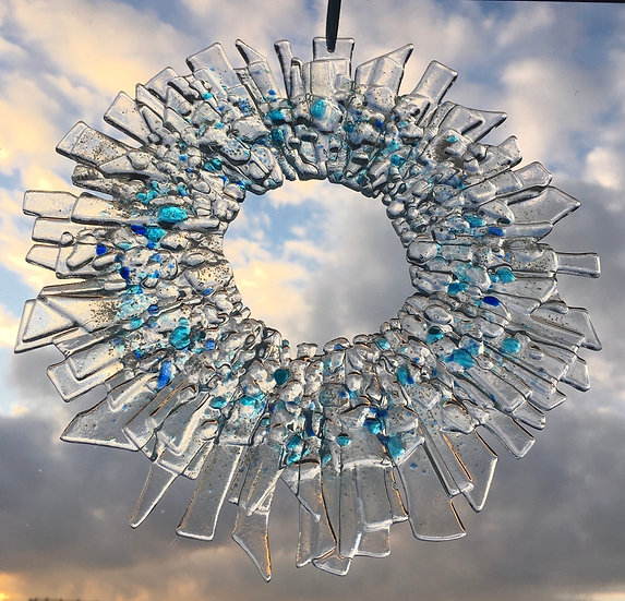 Large Icicle fused glass Christmas Wreath