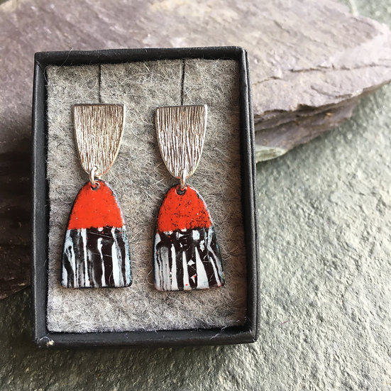 Red, white, black and silver enamelled drop earrings