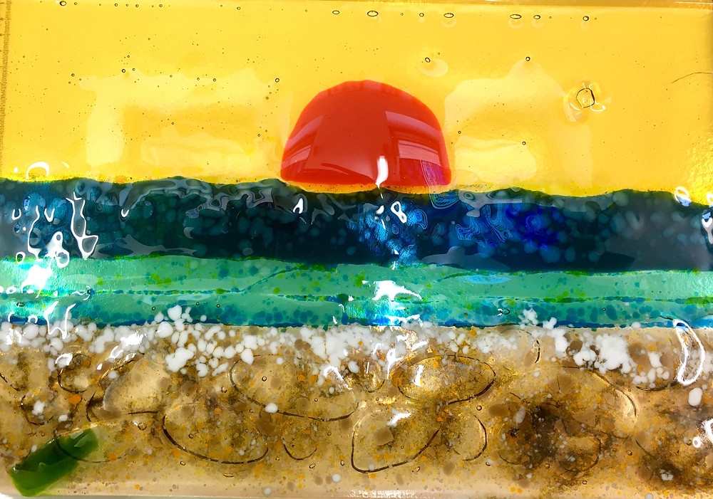 Sunset at the beach, and a message in a bottle Fused Glass panel