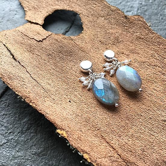 Labradorite and Silver dangle earrings Eleanor Watson (c) 2018 Gather-River-Breath Collection