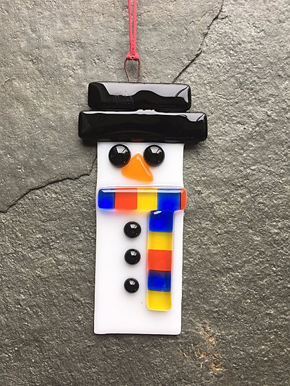 Fused Glass Snowman Christmas Decoration
