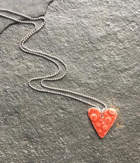 Heart Pendant -red glazed porcelain on sterling silver chain
