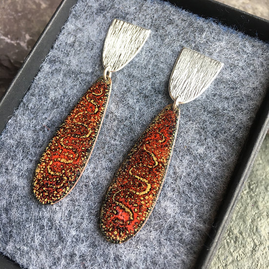 Sterling silver and enamel long drop earrings autumn colours