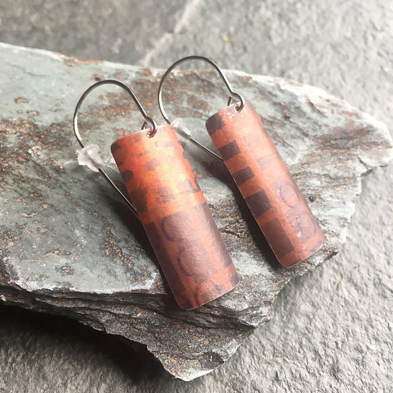 Anodised Aluminium Earrings - Long drop abstract copper and brown