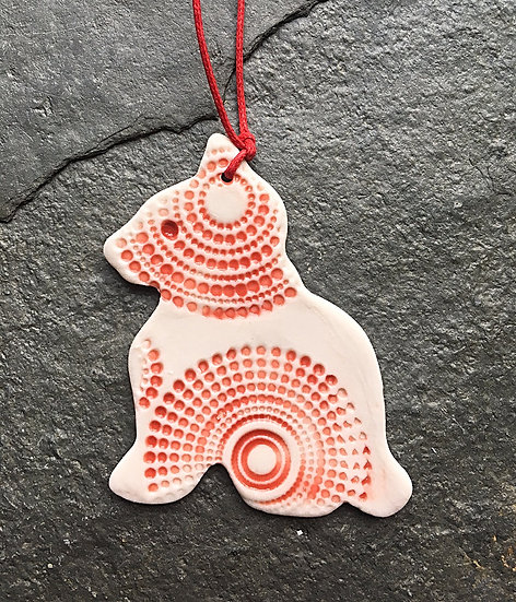 Porcelain Menagerie: Kitty Decoration Red & White