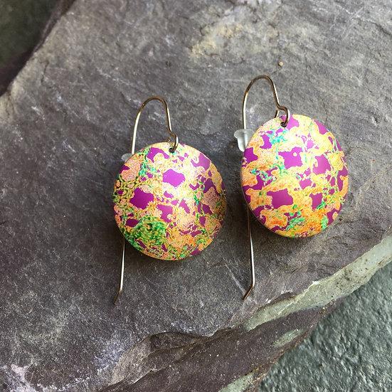 Aluminium Earrings Purple, gold and green check