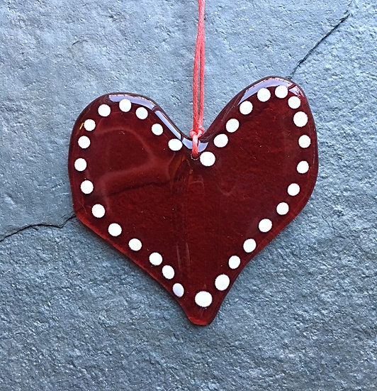 Heart of glass gift decoration (fused glass in red & white)