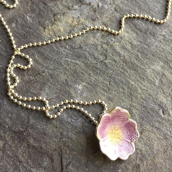 Dusky Pink Enamel forget-me-not necklace Sterling Silver chain Eleanor Watson 2020