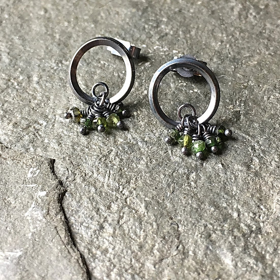 Gather River Breath Oxidised silver and tourmaline earrings Eleanor Watson (c) 2020