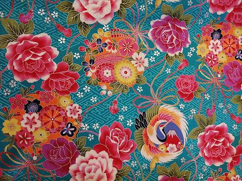 Japanese Cotton turquoise background