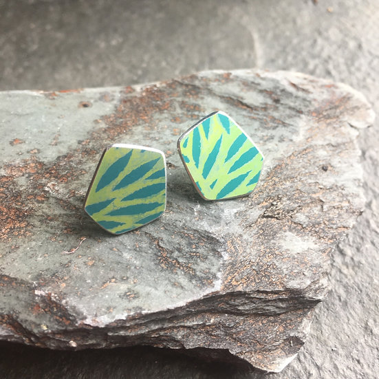 Anodised Aluminium stud earrings on sterling silver backs turquoise and green
