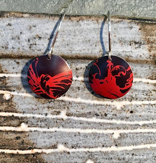 Anodised Aluminium drop earrings red black rococo