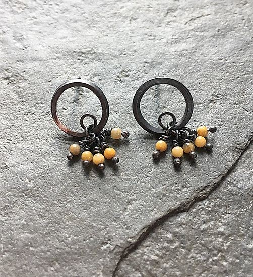 Oxidised sterling silver and Mustard Jasper drop earrings Eleanor Watson (c) 2020 Gather River Breath Collection