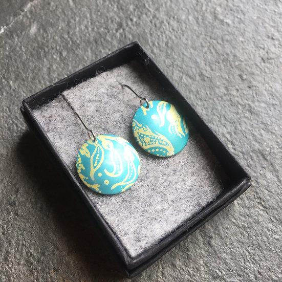 Anodised Aluminium earrings - teal green and gold - medium