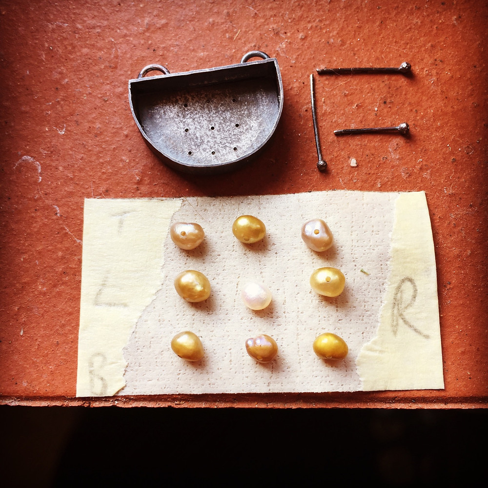Riveting seed pearls