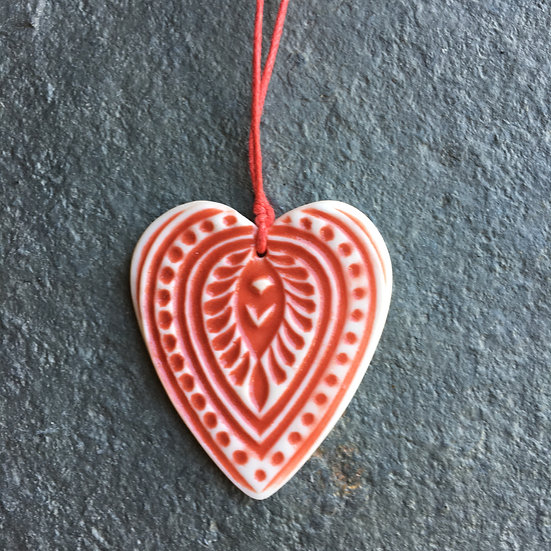 Porcelain menagerie: Love Heart decoration - red and white paisley
