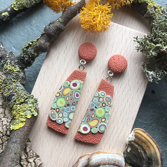 Lichen inspired dangle earrings - Rust Polymer Clay, Sterling silver