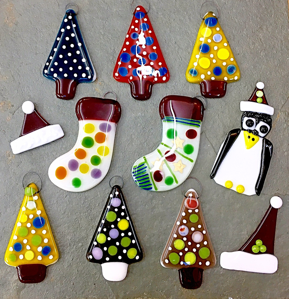 The Jewellery Boat - fully fused glass Christmas Decorations after firing