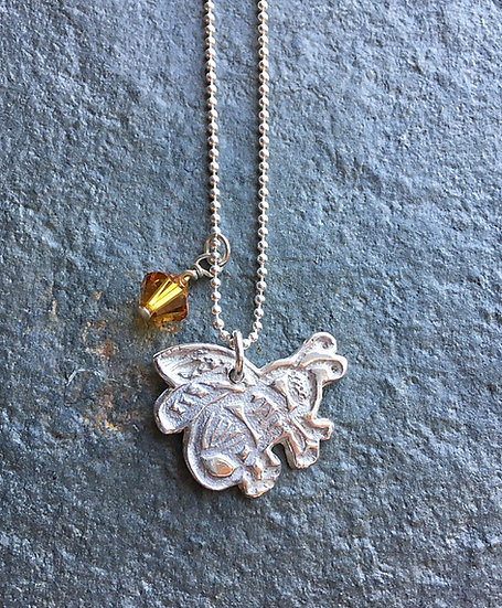 Sterling Silver honeybee + crystal honey pendant