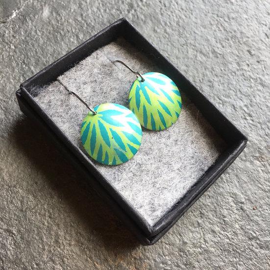 Anodised Aluminium earrings - turquoise and leaf green - medium