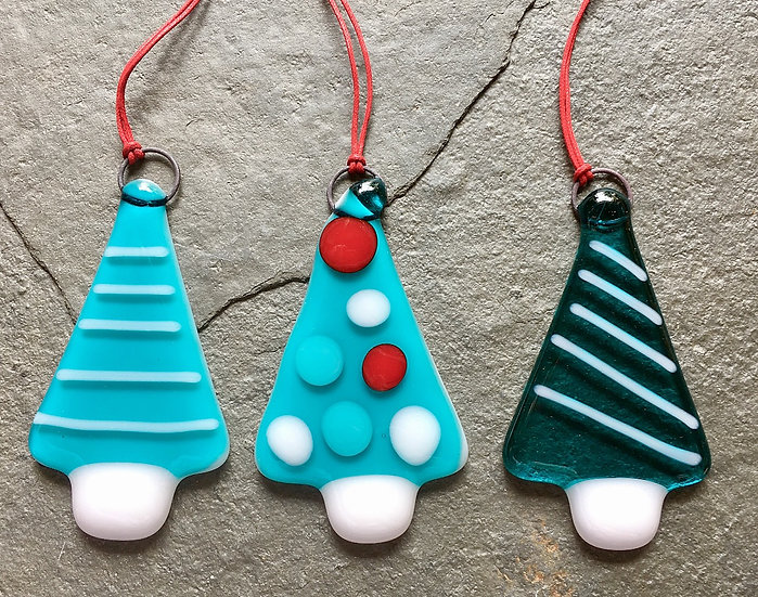 Fused Glass Christmas Trees - Set of 3 decorations