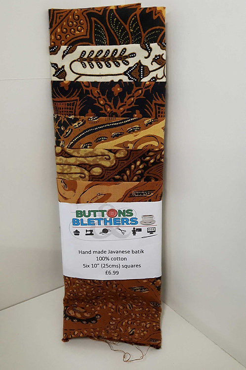 Handmade Javanese Batik 100%cotton 6 x 25cm squares