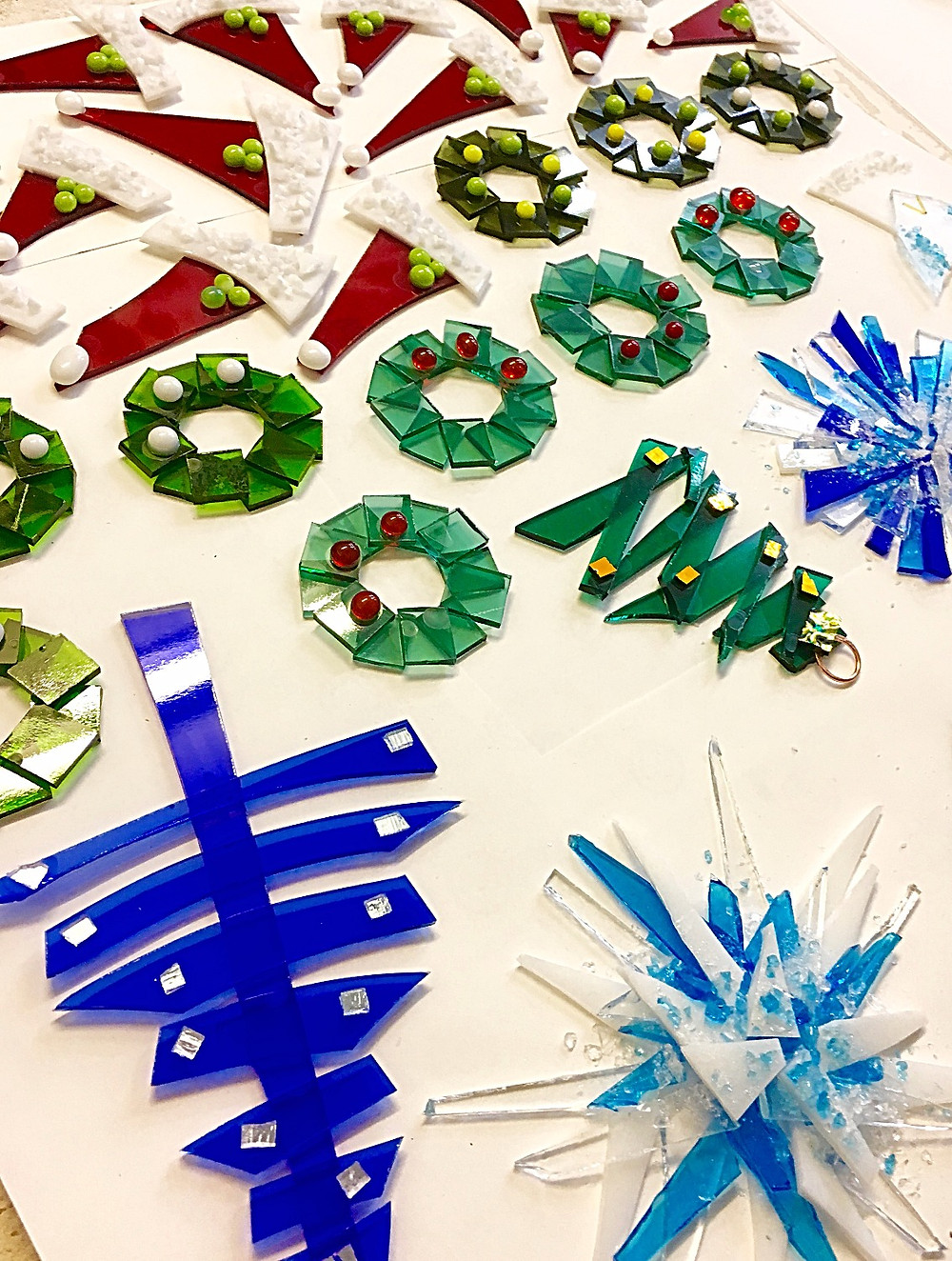 The Jewellery Boat Fused Glass decorations ready for firing