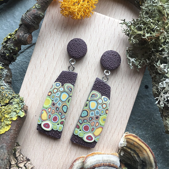 Lichen inspired dangle earrings - Mushroom Polymer Clay, Sterling Silver