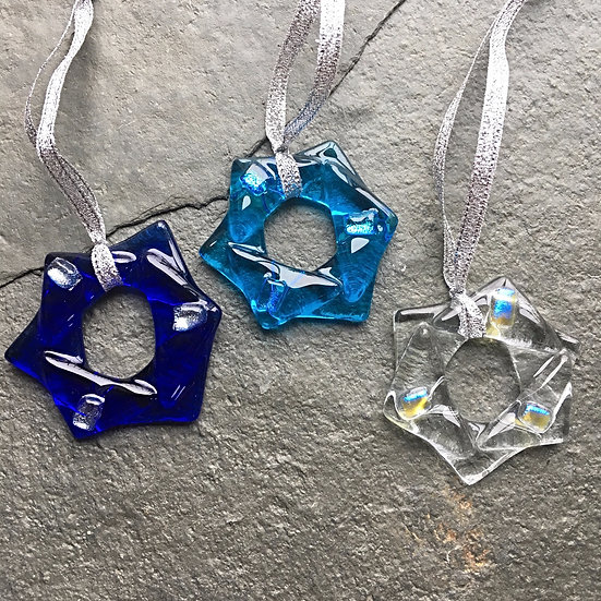 3 Fused Glass Tiny Twinkle Stars- blue/clear/turq