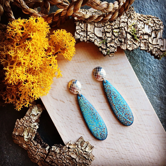 Silver and enamel drop earrings - Lichen inspired