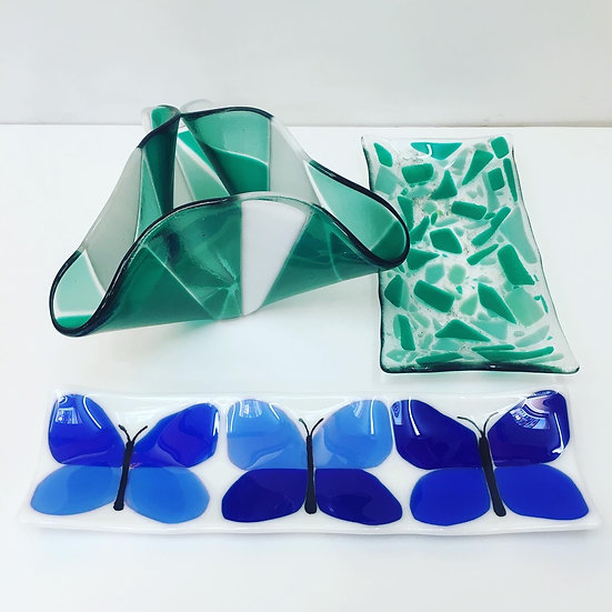 Fused Glass for your home - made on the beginners day course at Rainbow Glass Studios