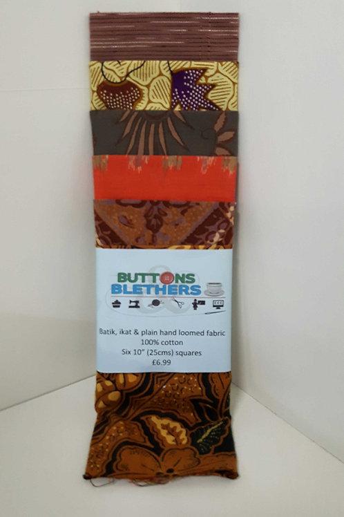 Batik, ikat, hand loomed fabric 100% cotton 6 x 25cm squares