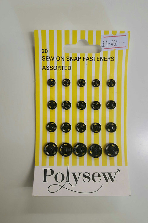 Sew on Snap Fasteners Assorted size 20 pcs