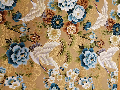 Japanese Cotton golden floral and crane design