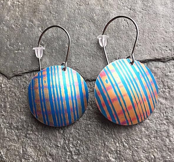 Anodised Aluminium Earring Turquoise/orange stripe