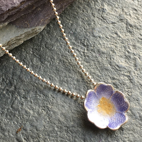 Lilac forget-me-not enamelled flower pendant Sterling silver and vitreous enamel