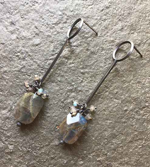 Gather River Breath: Labradorite dangle earrings
