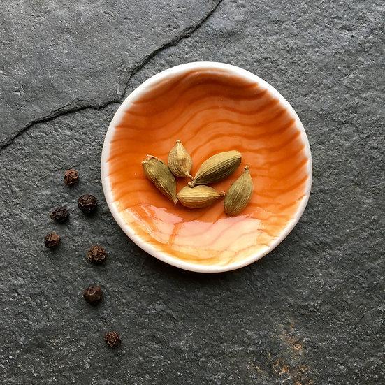 Mini Dipping bowl - Orange - fine white porcelain