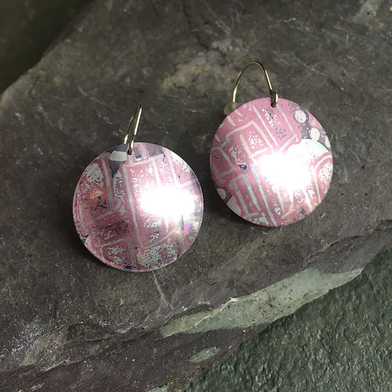 Anodised Aluminium Earrings Heather pink inspired by Cornwall