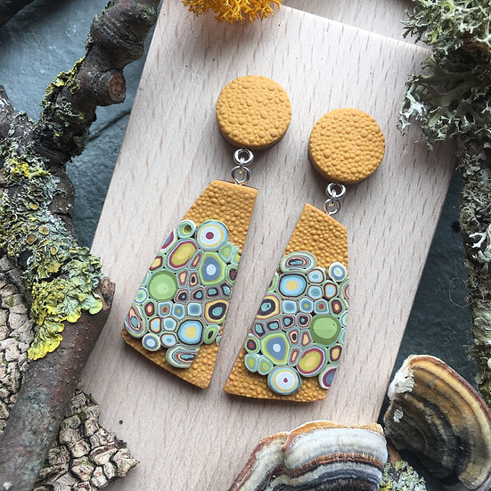 Lichen inspired dangle earrings - Mustard Polymer Clay, Sterling Silver